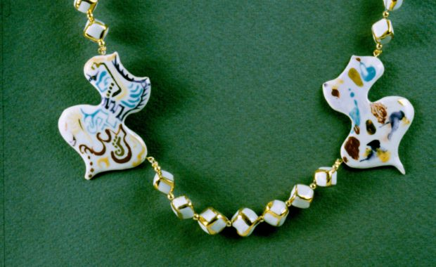 Porcelain and Gold Necklace